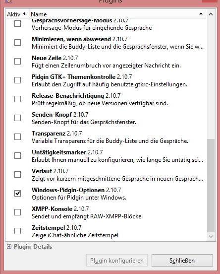 Windows-Plugin aktivieren
