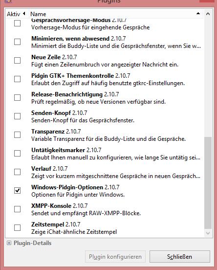 Windows-Plugin aktivieren
